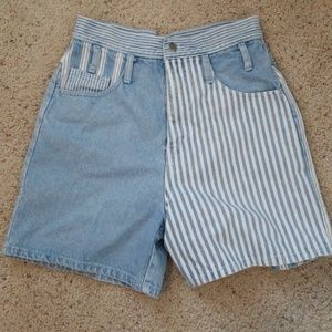 Vintage striped jean shorts